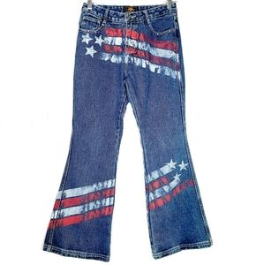 Route 66 | American Flag Crop Kick Flare Jeans